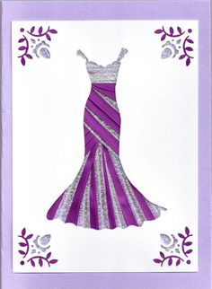 Ribbon Iris Fold Card  Dress in Purple and by FourSistersShop, $4.50 - for inspiration only.  I wish I knew how to do the iris folding dress.