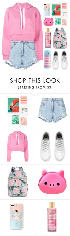 """""""Pink Hoodie"""" by pure-vnom ❤ liked on Polyvore featuring DENY Designs, Nobody Denim, Natasha Zinko, H&M, ban.do and Victoria's Secret"""
