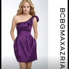 """*REDUCED* BCBG Purple 1-Shoulder """"MONACO"""" Dress LOWEST PRICE for a BRAND NEW, NEVER WORN.  Elegant 1-shoulder dress with hidden side pockets. Shoulder strap features gold zipper trim slightly coiled into a modern day corsage. Zips in the back. Style # CIZ6F588 BCBG Dresses"""