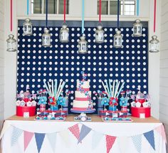 Love this 4th of July party #patriotic #table #party