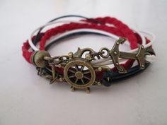 Leather Dual Bracelet, UNISEX, Nautical Anchor& Boat wheel Charms, Boho wrap bracelet, Personalized Cuff bracelet, Leather boho wrap by TurquoiseJewel on Etsy