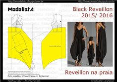 Portuguese site with illustration showing how to use standard slopers to create this saruel style jumpsuit