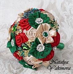 Green Brooch Bouquet Bridal Bouquet Wedding Bouquet Fabric