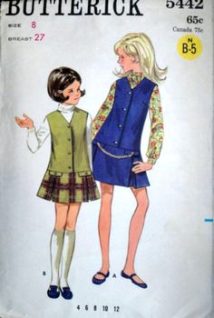 Girls' Drop Waist Jumper, Vintage 60's Butterick 5442 Sewing Pattern, Size 8, 27 Breast, Retro Mod 1960's Kids Fashion