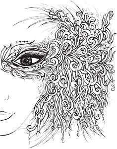 Creative Haven Fanciful Faces Coloring Book Welcome to Dover Publications - or use this design duplicated as a pattern for a quilled mask.