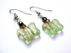 Beaded butterfly earrings  green earrings  by sparklecityjewelry