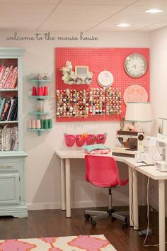 Sewing Craft LOVE the colors in this sewing room. May need to use them in my future craft room. Especially how much the coral pegboard and chair POP. - View this extensive list of ideas to fill your own endless collection of empty notebooks! Sewing Spaces, My Sewing Room, Sewing Rooms, Sewing Box, Free Sewing, Sewing Room Organization, Craft Room Storage, Organization Ideas, Paint Storage