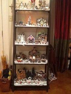 ladder with villages    Display Christmas Village on a Ladder Bookshelf