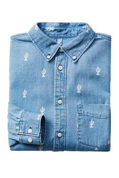 denim shirt- H&M Bleach + a stencil on denim- easy peasy!