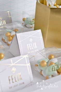 Birth announcement goldfoil and mint. Lucky charm. Geboortekaartje en doopsuiker op maat. Baby E, Baby Birth, Birth Gift, Everything Baby, Baby Cards, Future Baby, Wedding Favors, New Baby Products, Baby Shower