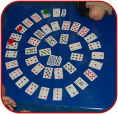 Addition/Subtraction game.  Students roll a dice, move that many spaces, add the number on the dice to the number card they landed on.   Variations: +1/+2 dice. +10/+5 dice. How many more to make ten?