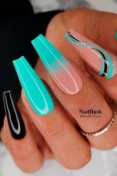 Acrylic Nails Coffin Short, Summer Acrylic Nails, Best Acrylic Nails, Acrylic Nail Designs, Coffin Nails, Nail Art Designs, Sparkly Acrylic Nails, Accent Nail Designs, New Nail Art Design
