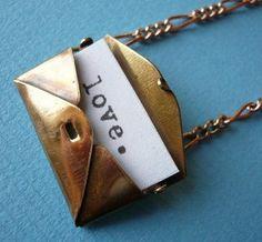 Secret letter necklace.  Envelope pendant  closes shut :)