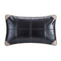 For a slight menswear look and feel, these faux leather pillow is the perfect accent to your River Run bedding collection.