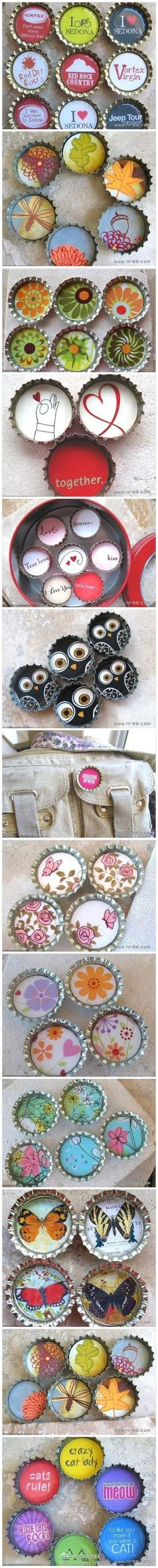 Reuse and decorate bottle caps.