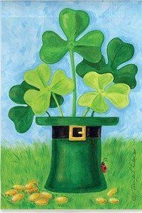 """Shamrock Hat Flag (Regular Size) by House-Impressions. Save 37 Off!. $19.95. Silk Reflections Flag. 29"""" x 43"""". A flag is the greeting card of your home. Original Artwork by © Jennifer Huber, Ruth Levison Design. Great for yourself or as a gift. As if it was tossed aside by a forgetful leprechaun, this green hat sits in the grass surrounded by gold coins. Shamrocks sprout joyfully from its opening. The fun and luck of St. Patrick's Day is celebrated with this flag's every wave in the wind."""