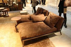 Brown velvet lounge chairs