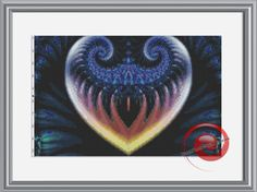 Ice Heart Fractal Cross Stitch Pattern, Instant Download PDF, Relaxation, Meditations