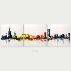 Original Chicago arte abstracto, pintura moderna urbana, pintura con textura, decoración para el hogar, óleo sobre lienzo, lona tres Skyline de Chicago