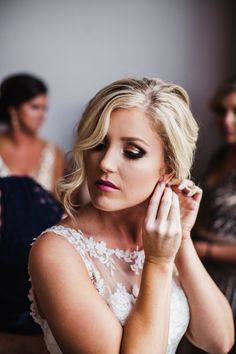Love the smoky eye and wedding hair! View the full wedding here: http://thedailywedding.com/2016/08/13/industrial-glam-wedding-sydney-harris/