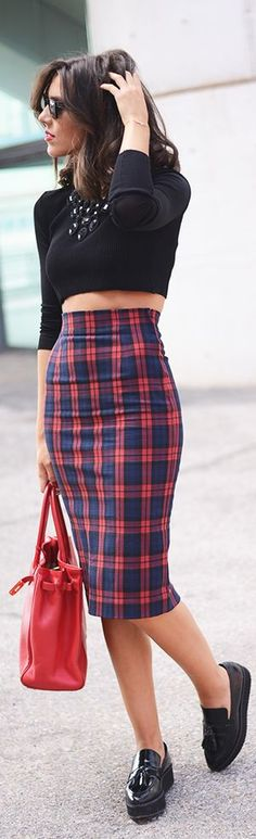 # Mbwmadrid Day Ii | The Fashion Through My Eyes-fashion Blog By Carla Estevez. Perfect black long sleeve crop top. And incredible high waisted plaid skirt. The black flats and red bag with it are great too. This is the kind of outfit I feel awesome in.
