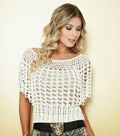 Katia Ribeiro Moda & Decoração Handmade: Blusa em crochê com gráfico e receita