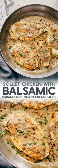 Skillet Chicken with Balsamic Caramelized Onion Cream Sauce - this recipe has the most delicious sauce of LIFE! #skilletchicken #chickendinner #caramelizedonioncreamsauce #balsamiccreamsauce | Littlespicejar.com