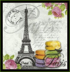Eiffel Tower And Macarons Decoupage Paper Scrapbooking Paper Mixed Media Altered Art Paper Lunch Napkin Tissue Paper