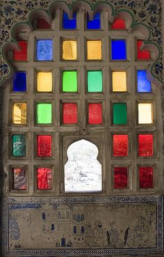 Glass colored window / City Palace, Udaipur, India