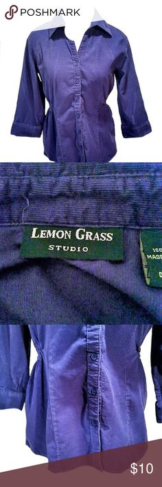 """Small Purple Corduroy Top Petite (iy) LEMON GRASS STUDIO Excellent Condition Lemon Grass Top with ruching around the waist   Size: PS Worn: gently,  Condition: Excellent,   Stains: none Holes: none  Rips: none Fading: none  Color may vary slightly from photos.  Measurement:                      Chest: 36""""                     Length: 24""""       Length of Arms: 17""""  Thanks for giving this item a look. Lemon Grass Tops Button Down Shirts"""