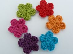 Crochet applique 6 small bright  crochet by MyfanwysAppliques