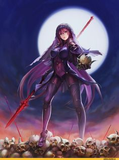 Anime picture with fate (series) fate/grand order lancer (fate/grand order) ushas long hair single tall image light erotic breasts fringe purple eyes purple hair standing hair between eyes night outstretched arm full moon girl gloves navel Fantasy Female Warrior, Warrior Girl, Fate Grand Order Lancer, Scathach Fate, Fanart, Fate Stay Night Anime, Dragon Images, Matou, Fate Anime Series