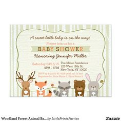 Woodland Forest Animal Baby Shower Invitations