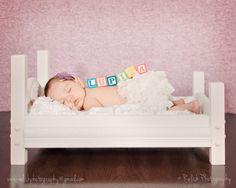 Newborn bed solid wood prop. $65.00, via Etsy.