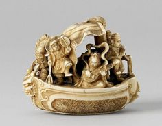 An ivory netsuke of the Seven Gods of Good Luck in a boat, by Yôzan. Late 19th/early 20th century All of them merrily dancing and making music, the fully blown sail bears a shippô emblem, a dragon head sits at the bow. Signed Yôzan on an inlaid red lacquer tablet.