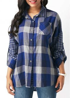 992a5c94dfd Turndown Collar Plaid Print Roll Tab Sleeve Shirt on sale only US 32.06  now