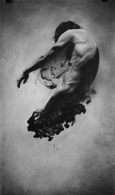 genie-like body smoke: 'Diffusion Self Portrait 4' Charcoal on Paper by Brooklyn, NY artist James Linkous• ArtistADay.com 17414