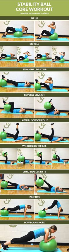 """The Swiss ball (also called stability balls, exercise balls, fitness or yoga balls)—are one of the best fitness tools you can own and use. Our """"Exercise Ball Workout Poster"""" will show you 35 supper ef Fitness Workouts, Fitness Motivation, Fun Workouts, At Home Workouts, Ball Workouts, Workout Ball, Core Workouts, Core Exercises, Swimming Workouts"""