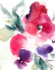 Abstract Flowers Watercolor Painting Art Print, Pink Purple Floral Art, Modern Wall Art, Watercolor Art by CanotStopPrints on Etsy