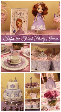 Great Sofia the First girl birthday party ideas! See more party ideas at CatchMyParty.com. #sofiathefirst #partydecorations