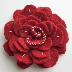 Red and White Valentine Felt Flower Brooch Pin by WoolenBlooms on Etsy