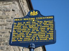 "June 21, 1877:  Ten miners accused of being militant ""Molly Maguires"" are hanged in Pennsylvania.  A private corporation initiated the investigation of the men through a private detective agency.  A private police force arrested them, and private attorneys for the coal companies prosecuted them.  ""The state provided only the courtroom & the gallows,"" a judge said many years later."