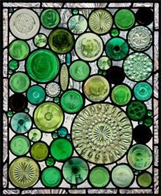 """By David Maher Stained Glass Studio.: """"GREEN BOTTOM WINDOW"""" Made with the bottom of bottles, jars, bowls, etc."""
