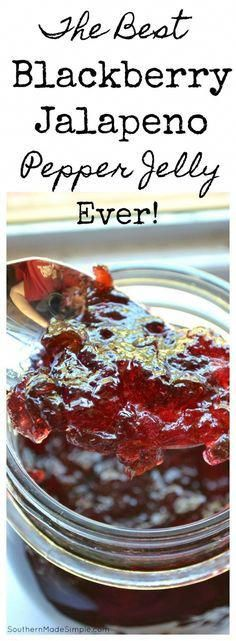 Blackberry Jalapeno Pepper Jelly Recipe - a really simple recipe to make the sweetest jelly around - with a hint of heat! #healthycookingideas,healthyrecipes,saladrecipes,healthymeals,easyrecipes,easyhealthyrecipes,simplerecipes,bestrecipes,cookinglightrecipes,quickeasymeals,quickhealthymeals,healthymealideas,goodrecipes,healthysaladrecipes,easyfoodrecipes,quickeasyrecipes