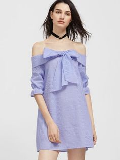 Blue And White Striped Bow Tie Fold Off The Shoulder Dress