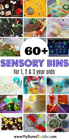 Over 60 fun sensory bins for babies, toddlers and preschoolers. The perfect toddler activity for 1 year olds, 2 year olds and 3 year olds. A sensory bin for all seasons fall spring summer winter… Toddler Sensory Bins, Sensory Tubs, Sensory Activities Toddlers, Sensory Boxes, Baby Sensory, Toddler Play, Montessori Activities, Infant Activities, Sensory Play