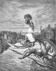David and Goliath, Gustave Dore Art And Illustration, Gravure Illustration, Bible Illustrations, Gustave Dore, David Et Goliath, Arte Obscura, Biblical Art, Arte Horror, Bible Art