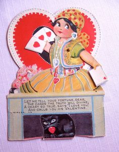 """Let me tell you the fortune, dear. The cards the truth will divine. A heart, so true, says """"I love you"""" and calls you his Valentine - vintage retro Valentine's Day card gypsy fortune teller girl with black cat and cards valentines cards cute Vintage Valentine Cards, Vintage Holiday, Vintage Halloween, Valentine Ideas, Valentine Crafts, Vintage Ephemera, Vintage Cards, Vintage Images, Vintage Postcards"""