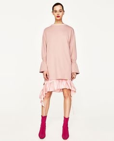 ZARA - WOMAN - PLUSH DRESS WITH FLARED SLEEVES
