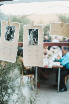 photographs as table numbers and seating chart #seatingchart #diy #weddingchicks http://www.weddingchicks.com/2014/04/14/vintage-eclectic-california-wedding/